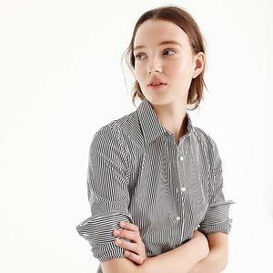 J. CREW Black/white striped button down top